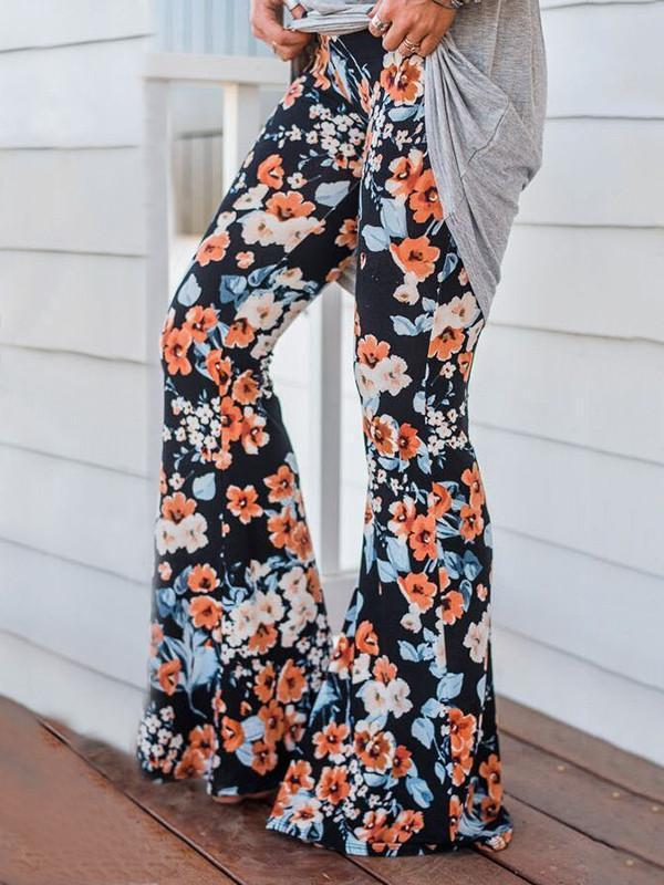 Popular Floral Printed Bell-Bottom Pant BLACK M