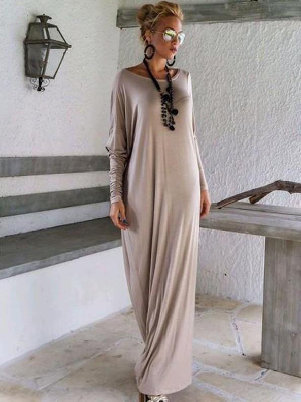 Elegant Solid Color Long Sleeve Round Neck Loose Maxi Dress BLACK M