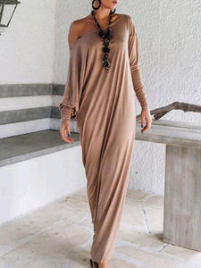 Elegant Solid Color Long Sleeve Round Neck Loose Maxi Dress BLACK L