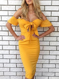 Sexy Solid Color Short Flare Sleeve Off-Shoulder Lace-Up Bodycon Dress ORANGE S