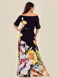 Floral Printed Off-the-shoulder Half Sleeves Maxi Dress L