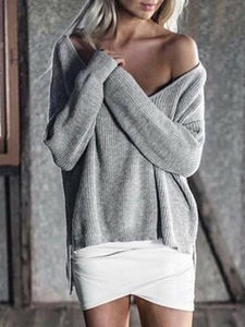 Solid Color Asymmetric V-neck Loose Sweater Tops PINK S