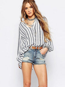 Striped V-neck Puff-sleeves Blous\u0026shirts Tops XL