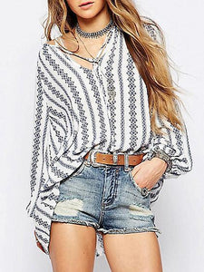 Striped V-neck Puff-sleeves Blous\u0026shirts Tops S