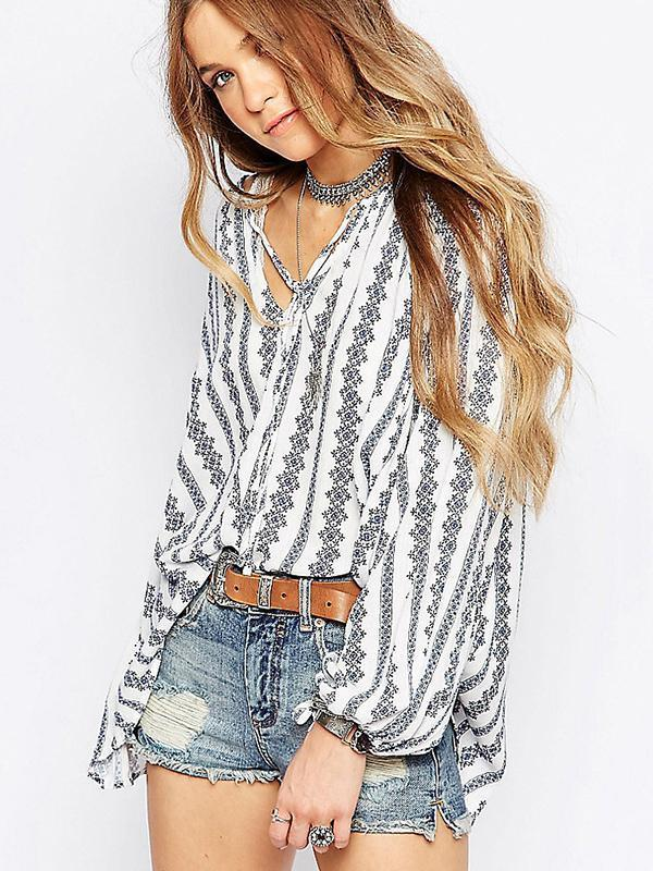 Striped V-neck Puff-sleeves Blous\u0026shirts Tops L