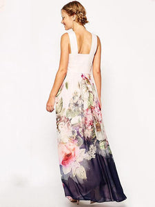 Chiffon Floral Printed Halterneck Sleeveless Maxi Dress XL