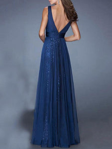 Evening Chiffon Backless Straps V-neck Maxi Dress BLUE L