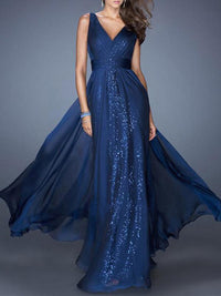 Evening Chiffon Backless Straps V-neck Maxi Dress BLUE S