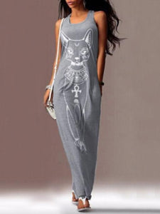 Cat Printed Straps Sleeveless Maxi Dress GRAY S