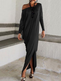 Elegant Solid Color Long Sleeve Round Neck Loose Maxi Dress BLACK S