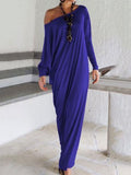 Elegant Solid Color Long Sleeve Round Neck Loose Maxi Dress BLACK XL