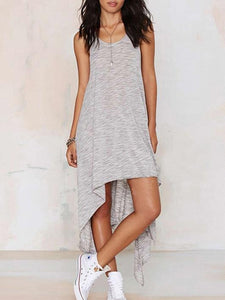 Simple Gray Straps Cropped Midi Dress S