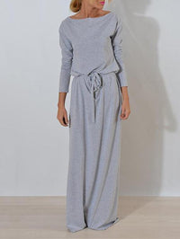 Solid Color Belted Long Sleeves Maxi Dress GRAY S