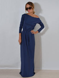 Solid Color Belted Long Sleeves Maxi Dress BLUE XL