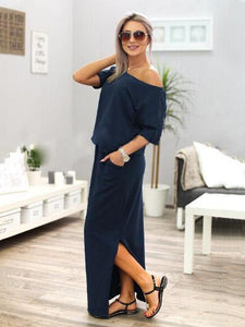 Solid Color Split-side Maxi Dress BLACK S