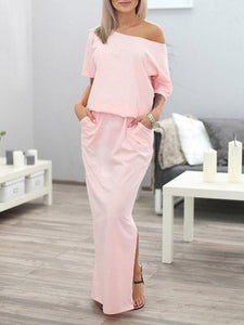 Solid Color Split-side Maxi Dress PINK XL