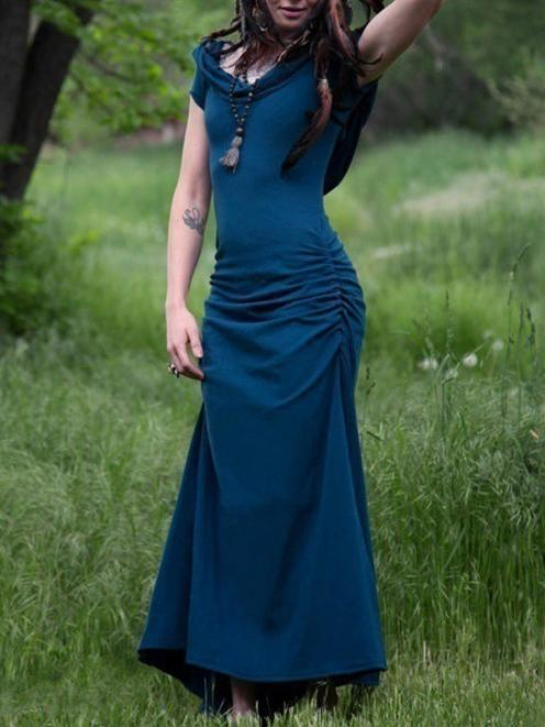 Solid Color Vintage Sleeveless Maxi Dress DEEP-BLUE L