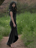 Solid Color Vintage Sleeveless Maxi Dress BLACK M