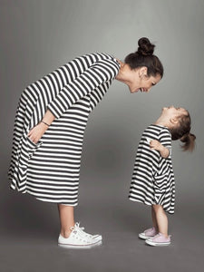 Striped Half Sleeves Loose Parent-Child Midi Dress CHILD XXS