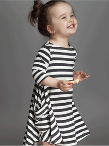 Striped Half Sleeves Loose Parent-Child Midi Dress CHILD L