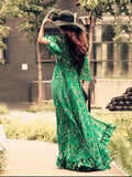 Bohemia Chiffon Green Flared Sleeves V-neck Maxi Dress 2XL