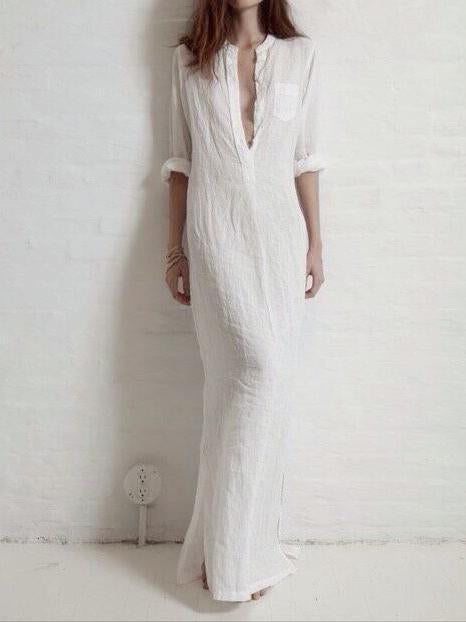 Solid Color Split-side Stand Collar Maxi Dress WHITE M