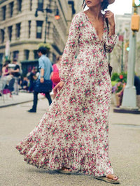 V-neck Floral-Print Bohemia Maxi Dress S(Bust34.6 Length48.4)
