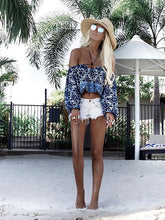 Off-the-shoulder Printed Blouses\u0026Shirts Tops