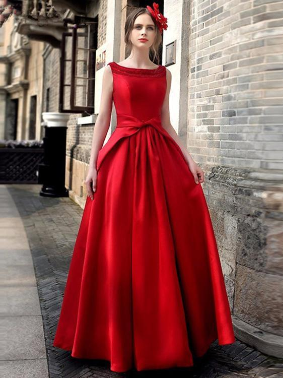 Waisted Sleeveless Evening Dress RED S