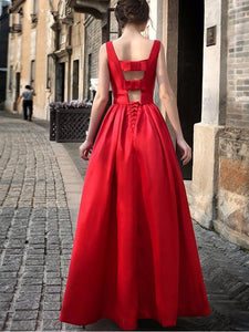 Waisted Sleeveless Evening Dress RED L