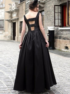 Waisted Sleeveless Evening Dress BLACK L