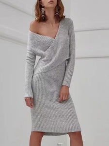 V-neck Knit Jumper Midi Dress GRAY S
