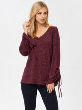 Lace-Up V-neck Blouses\u0026Shirts Top