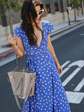 Pretty Bohemia Floral V Neck Maxi Dress BLUE M