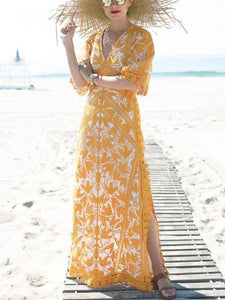 Bohemia V-neck Split-side Maxi Dress YELLOW L