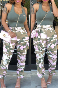 Roaso Casual Mid Waist Camouflage Printed Pants S Pink