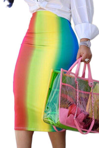 Roaso Sexy Rainbow Printed Mid Calf Skirts XL Pink