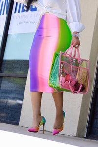 Roaso Sexy Rainbow Printed Mid Calf Skirts S Pink