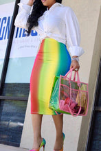 Sexy Rainbow Printed Mid Calf Skirts
