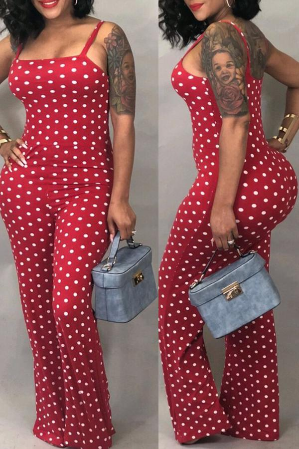 Roaso Fashion Dots Printed Red One-piece Jumpsuits M Red