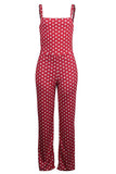 Roaso Fashion Dots Printed Red One-piece Jumpsuits L Red