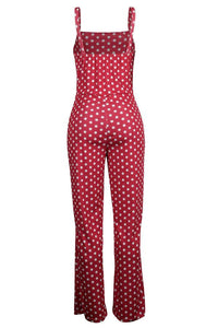 Roaso Fashion Dots Printed Red One-piece Jumpsuits XL Red