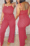 Roaso Fashion Dots Printed Red One-piece Jumpsuits XXL Red