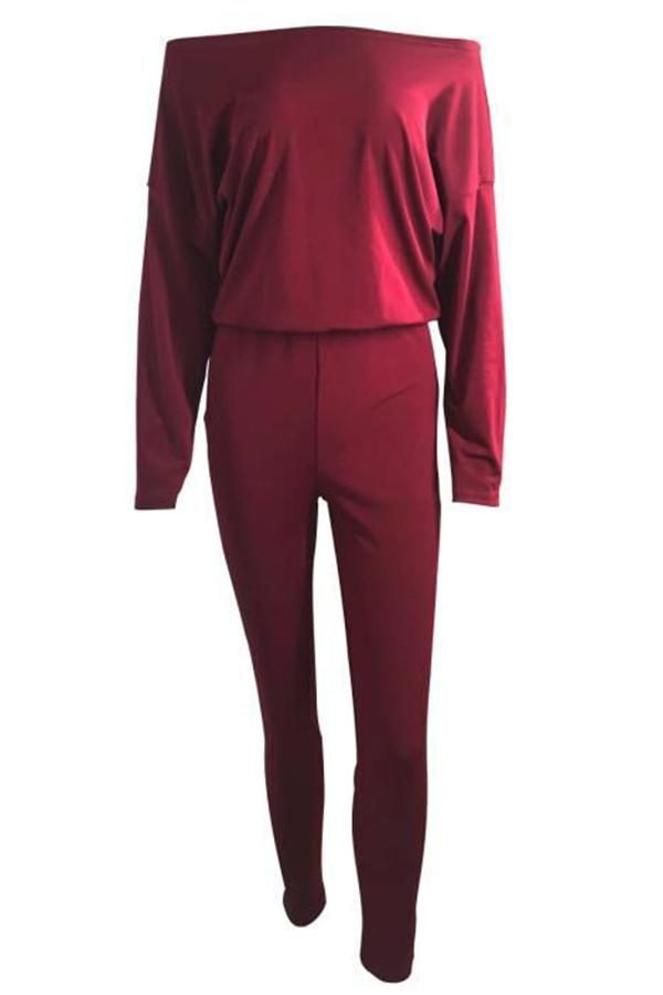 Roaso Casual Dew Shoulder One-piece Jumpsuit L Wine Red