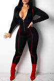 Roaso Casual Long Sleeves Zipper  Jumpsuit S Black