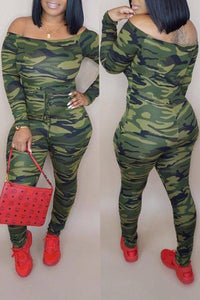 Roaso Casual Camouflage Printed Jumpsuit S Camo