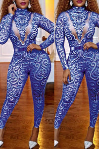 Roaso Sexy Hollowed-out  Jumpsuit S Blue