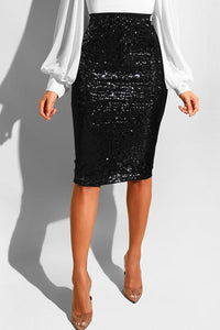 Roaso Trendy Skinny Sequined Knee Length Skirts S Black