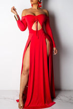 Hollow-out High Split Floor Length Maxi Dress