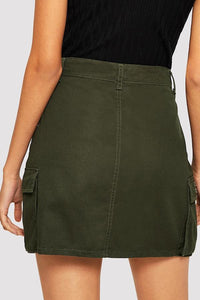 Roaso Casual Broken Holes Denim Mini Skirts M Army Green